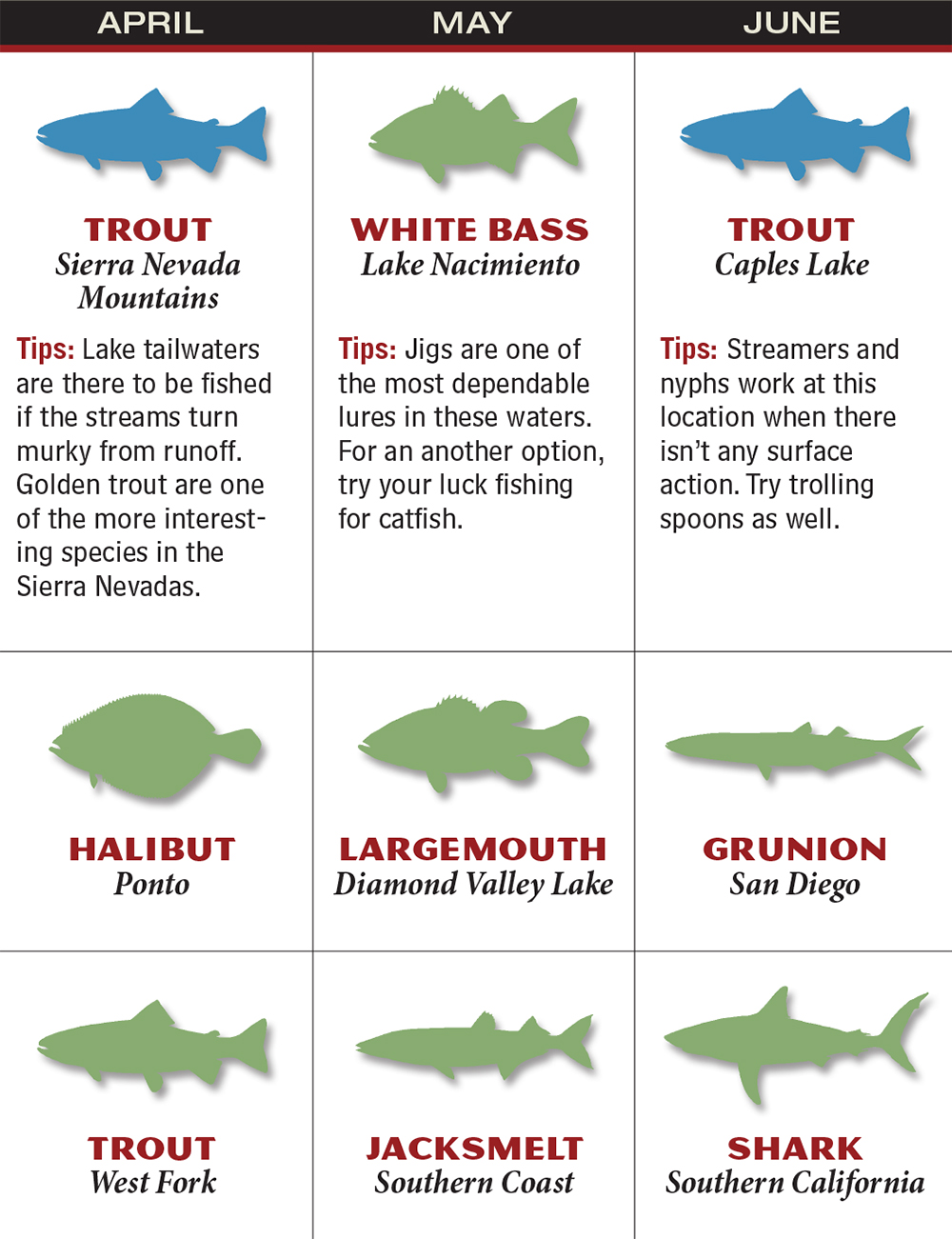 California 2016 Fishing Calendar