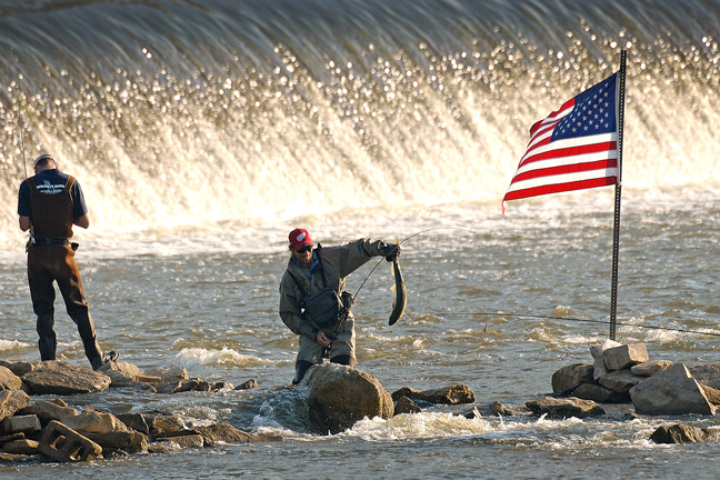 Salmon fishing in areas below dams pick up in mid-July and peak around Labor Day weekend.