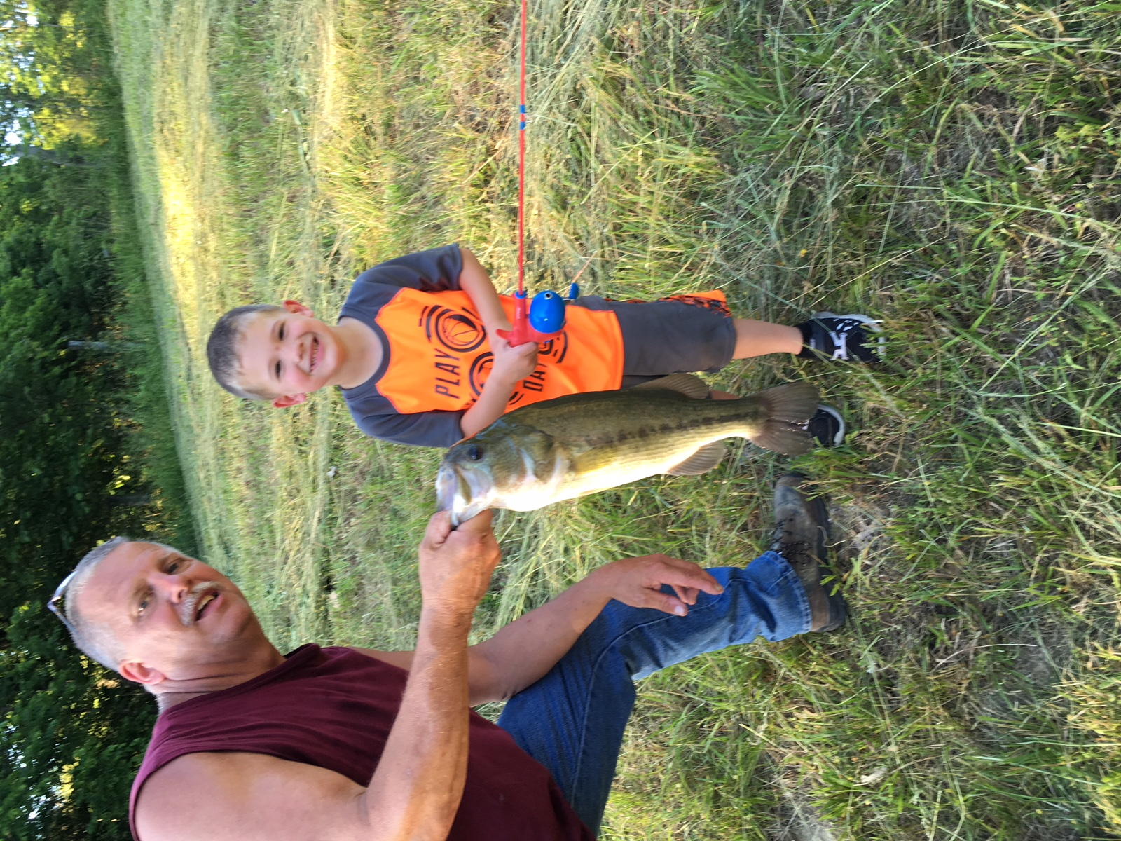 Braden draper caught this 5lb bass on his spider man for Spiderman fishing pole