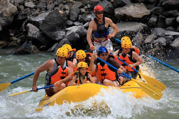 The Yellowstone River flows through Paradise Valley and provides great whitewater rafting through Yankee Jim Canyon. Trips can be arranged at Chico Hot Springs or from rafting companies in Gardiner.  Photo Courtesy Chico Hot Springs