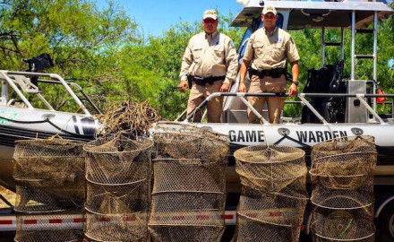 Texas Game Wardens have seized 5 illegal hoop nets placed by fishing vessels from Mexico in Texas waters at Falcon Lake. All fish were released alive. (Texas Game Wardens Facebook)