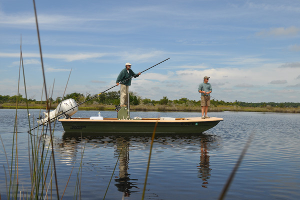 Quiet backwaters are perfect for poling and making easy casts for drum and speckled trout.