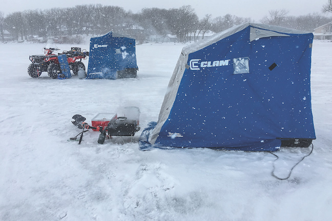 ice-fishing lodges