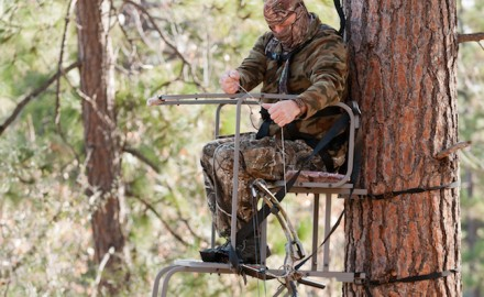 Hunters should always use a haul line when getting equipment in and out of the stand.