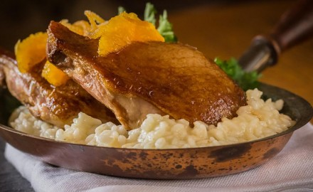 Serve these orange and soy roasted duck legs with a buttery and cheesy risotto.