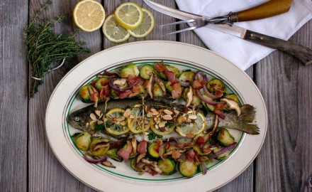 Baked Fresh Rainbow Trout with Brussels sprouts and Bacon
