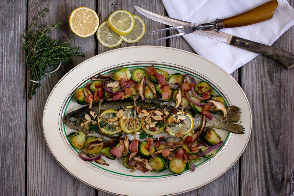 Baked Fresh Rainbow Trout with Brussels Sprouts and Bacon Recipe