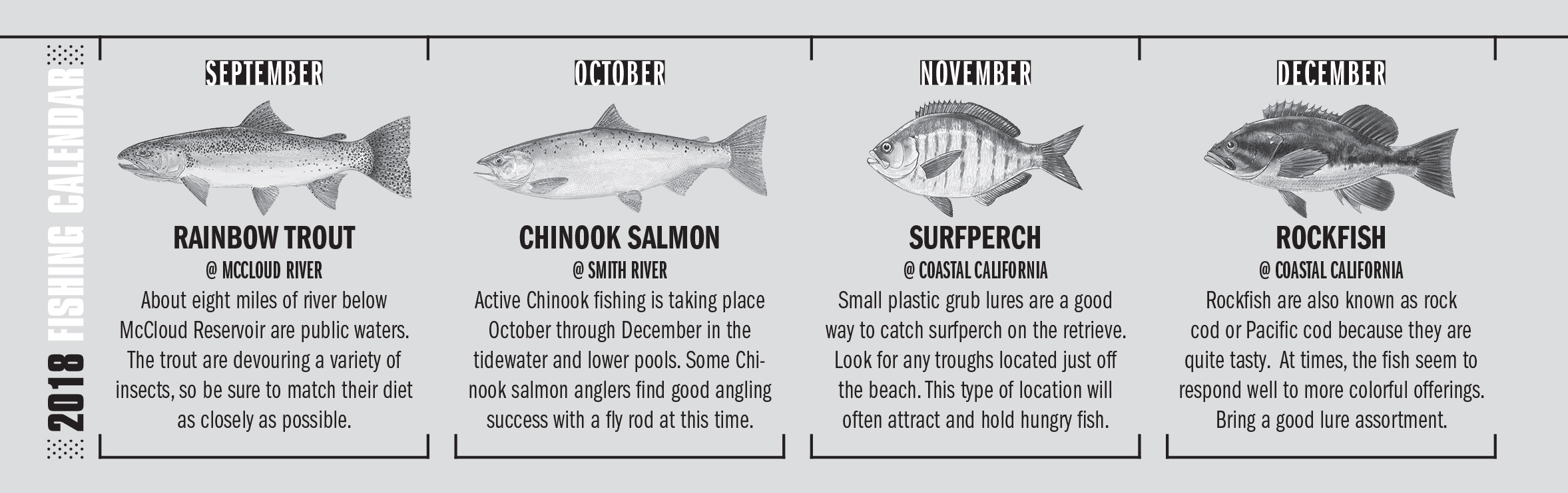 2018 California Fishing Calendar