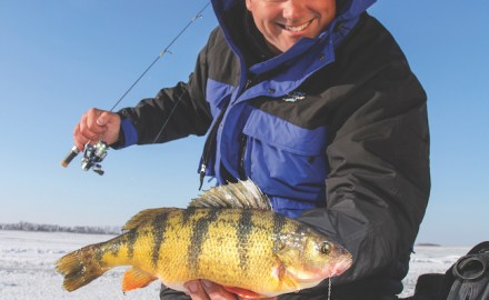 Ice fishing on Michigan's Lake Gogebic can result in jumbo yellow perch. (Photo by Ron
