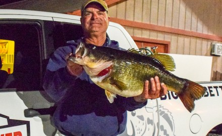Louisiana angler Michael Terrebonne shows off the second Legacy Class entry from Lake Fork into the newly revamped TPWD ShareLunker program. The 13.0-pound bass was caught on Thursday, March 8, 2018, one week to the day after another huge SL bass was pulled from the East Texas reservoir. (Photo courtesy of Kyle Brookshear/Texas Parks and Wildlife Department)