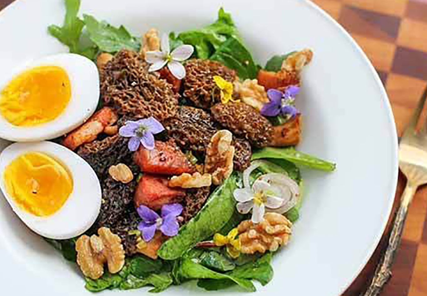 Morel Mushroom, Bacon and Duck Egg Salad Recipe