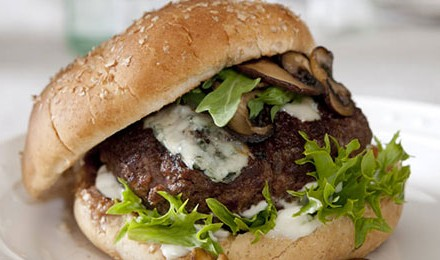 Mushroom and Blue Cheese Venison Burger Recipe