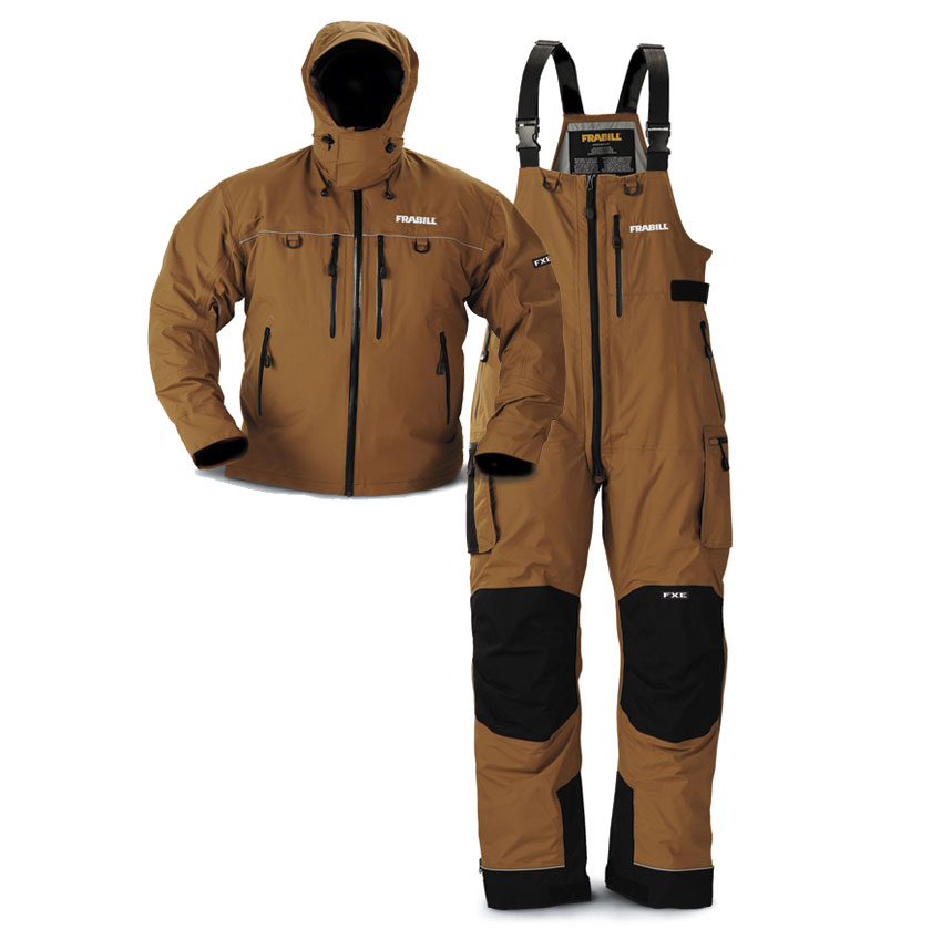 Frabill offers the FXE Stormsuit, a bib-and-coat combination for the most extreme conditions in