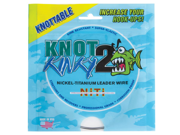 Aquateko's nickel-titanium Knot2Kinky wire is tieable with knots such as a four-wrap clinch