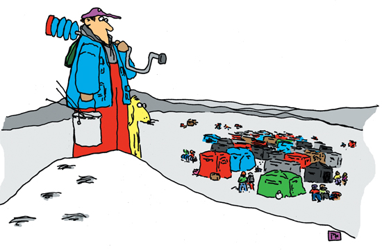 Working The Ice Fishing Crowd