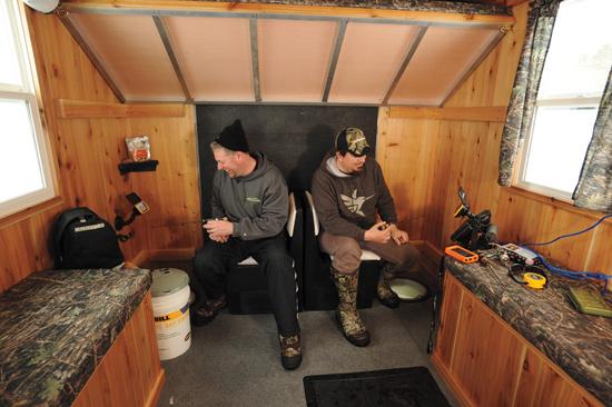 Tricked Out Ice Houses on iceshanty sleds, ice sledding, homemade ice shanty sleds, antique ice sleds, ice fishing sleds,