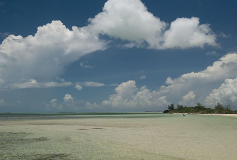 Wading the expansive flats of the Yucatan's Ascension Bay for Mayan permit