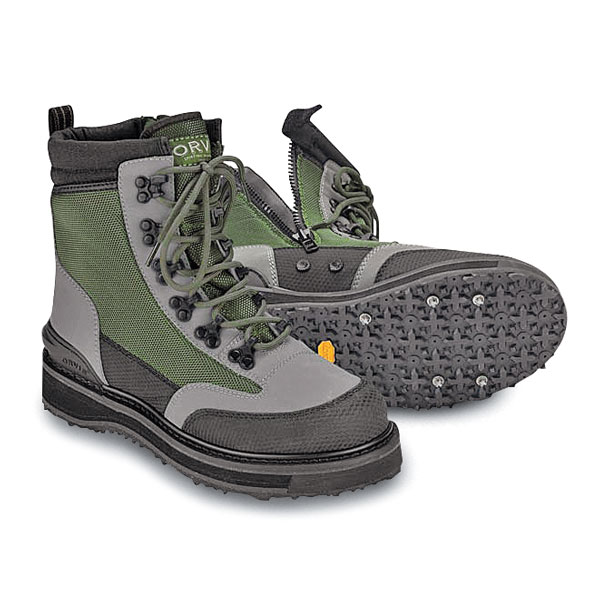 The Orvis River Guard Side-Zip Brogue has a roomy toe box, and a wide, stable footprint for difficult wading situations.