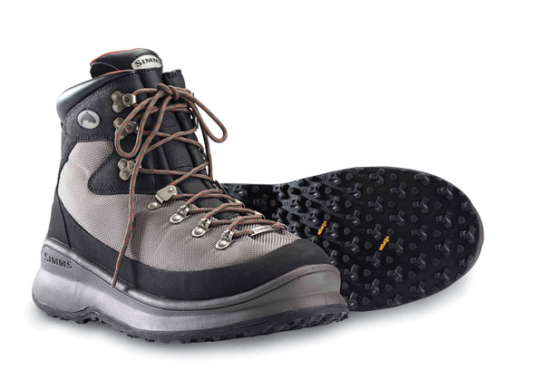 Vibram-sole Simms G4 Guide boots combine abrasion-resistant mesh panels with an easy-to-clean dirt-, water-, and adhesive-repellent Nanosphere finish.