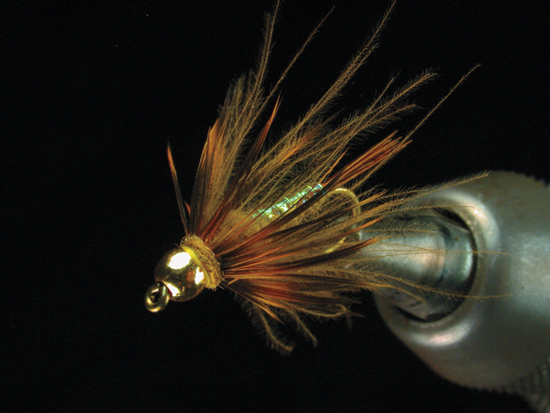 CDC Golden Stone: HOOK: #8-16 Tiemco 5262. BEAD: Gold tungsten, sized to hook.