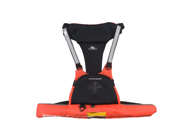 The Stearns Sospenders 16 Gram Manual Chest Pak is a is a lightweight, comfortable personal flotation device that quickly inflates with a pull-cord.