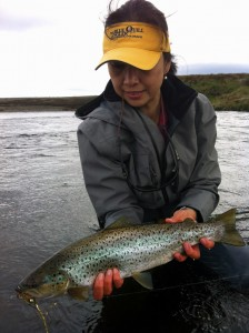 Grace Smith with the first ever confirmed Navarino Island sea trout