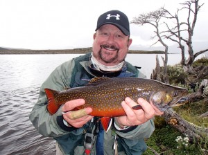 David Dobbs with Navarino Island brook trout