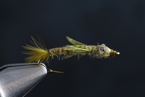 Barr's Damsel Recipe:  Hook: TMC 200 #8-14 Thread: Olive 6/0 Eyes: Melted Mono Tail: Olive