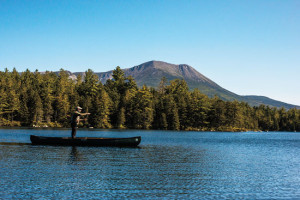 """The wilderness in and around Baxter State Park (including Mount Katahdin in this image) is home to some of Maine's wild brook trout ponds. Many others are on private land managed for logging, but the Great Ponds Act ensures access for the purposes of """"fishing and fowling."""" Photo: Joe Klementovich"""