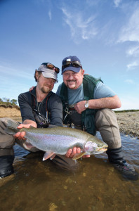 Egg-fed Alaska rainbows are binge feeders with enormous girths you can't fully comprehend from two-dimensional photos. They are heavy and powerful; expect them to weigh 50 percent more than trout fed on aquatic insects. Photo: Ross Purnell
