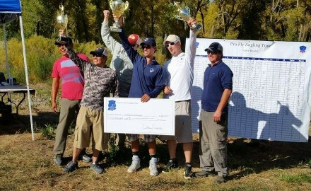 Cody Burgdorff celebrates his 2014 PFA Tour Championship win.  In 2014, 23 fly fishers paid up to