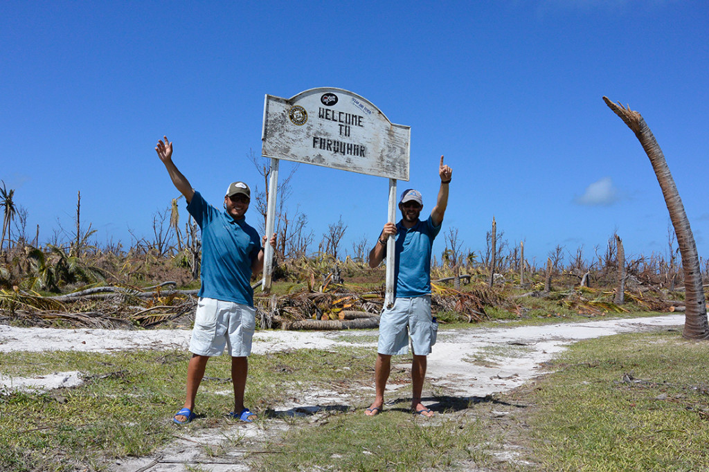 FlyCastaway fishing guides Matthieu Cosson and Justin Rollinson sheltered in a concrete cyclone bunker for three days. When they emerged, they found and recovered the Farquhar welcome sign.