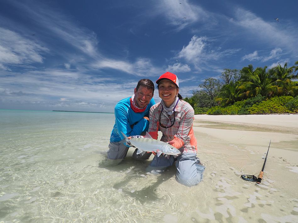 Grace Smith and Ross Purnell with a Farquhar bonefish December 2015.