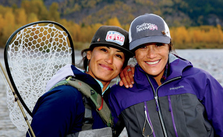 Hilary Hutcheson (left) and Whitney Milhoan used to be Glacier, Montana fishing guides known as
