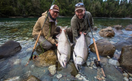 Salmon in Patagonia have become big business, both for aquaculture and sportsmen.