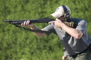 George Wehby from PDTV shooting Mossberg 590A1 shotgun