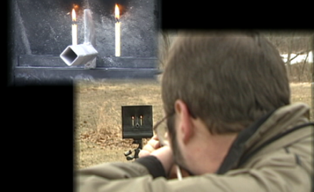 Trick shooter Bill Oglesby demonstrates snuffing 2 candles with one split bullet and how to make