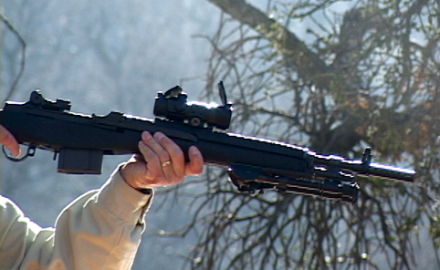 Springfield Armory's Rob Leatham demonstrates the Scout Squad M1-A.