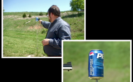 Professional shooter Bill Oglesby demonstrates the destructive power of blanks and why caution