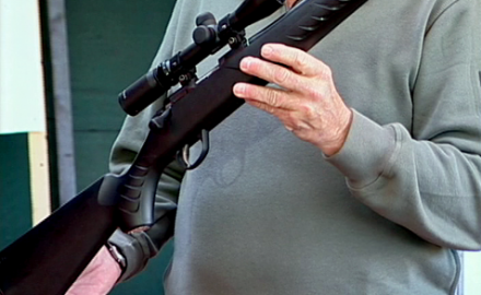 Sako staff demonstrate the ease in changing barrels on the Sako Quad rimfire rifle -- the world's