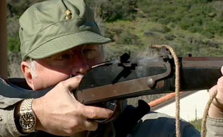 Garry James test fires a matchlock musket, one of the most important firearms in history, a
