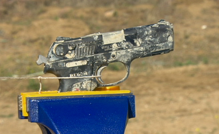 Guns & Ammo's Payton Miller and Richard Venola encase a Ruger P345 handgun in cement, let it