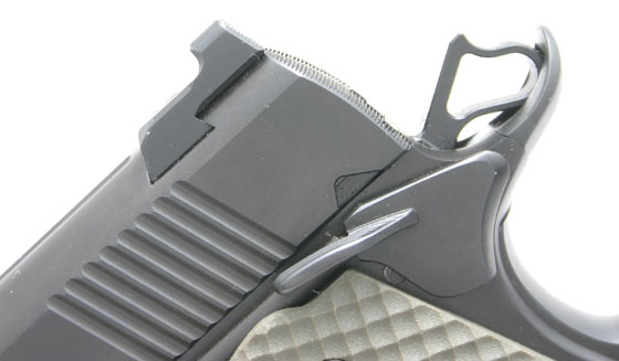 Another fighting feature we like is the Heinie Ledge night sights. Along with front and rear tritium inserts for low light, the rear sight is cut so you can catch it on your holster or belt for one-handed working of the slide. And if you can't quite catch your belt, the short guide rod lets you cycle the Falcon one-handed by pressing the recoil spring plug against a solid object.