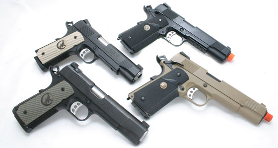 This season, we're using WE-Tech 1911 gas blowback 1911s. These all-metal guns have the exact same heft and feel as our .45 ACP Nighthawk 1911s.