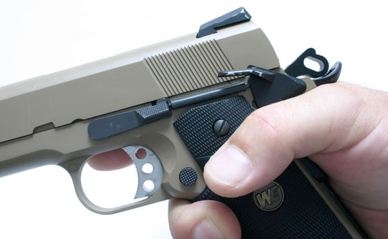Controls operate exactly the same--same slide release, safeties, magazine release, and even the magazines feel the same as .45 mags.