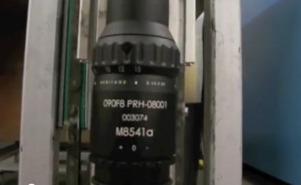 Premier Reticle's scope recoil testing fixture.