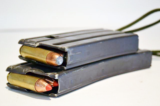 Youngblood found the Beowulf ammo to feed reliably from the Alexander Arms supplied magazine (top) as well as GI mags.