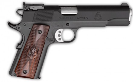 Rob Leatham of Springfield Armory and Patrick Sweeney review the new Springfield 1911 Range Officer