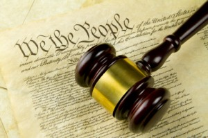 US Constitution With Gavel