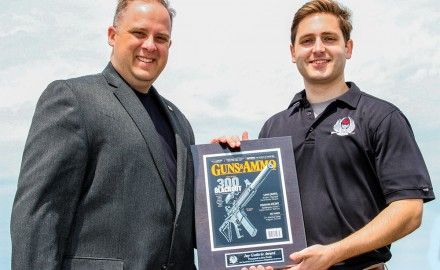 Knox Williams (Right), Executive Director of the American Suppressor Association (ASA), presents the inaugural J. Guthrie award for suppressor awareness to G&A Editor Eric R. Poole (Left).
